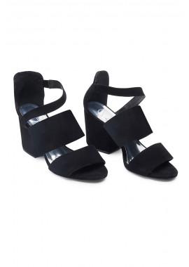 Sandália salto médio camurça