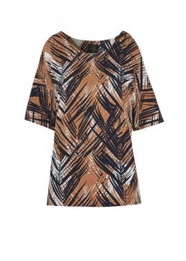 blusa jersey estampa folhagem c/ vazado manga
