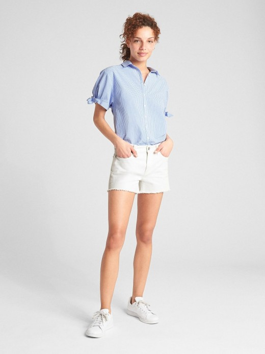 Camisa feminina adulto estampada e laço nas mangas