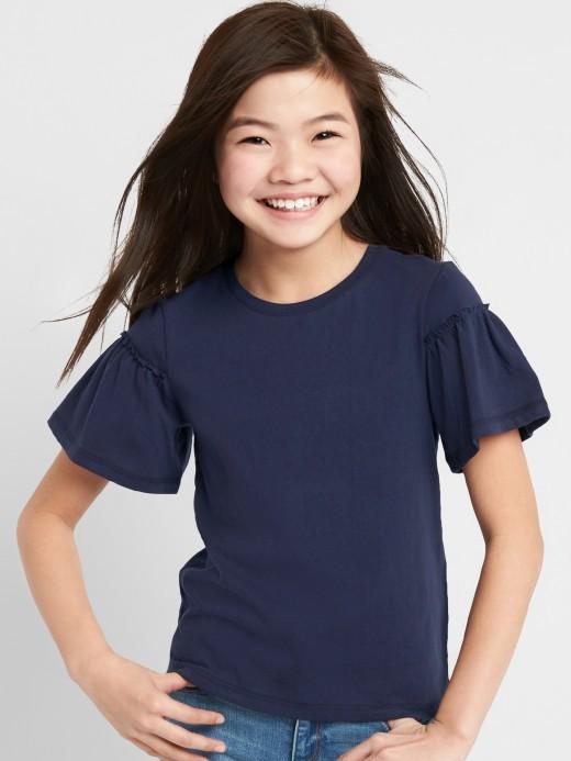 Camiseta feminina infantil com manga bufante