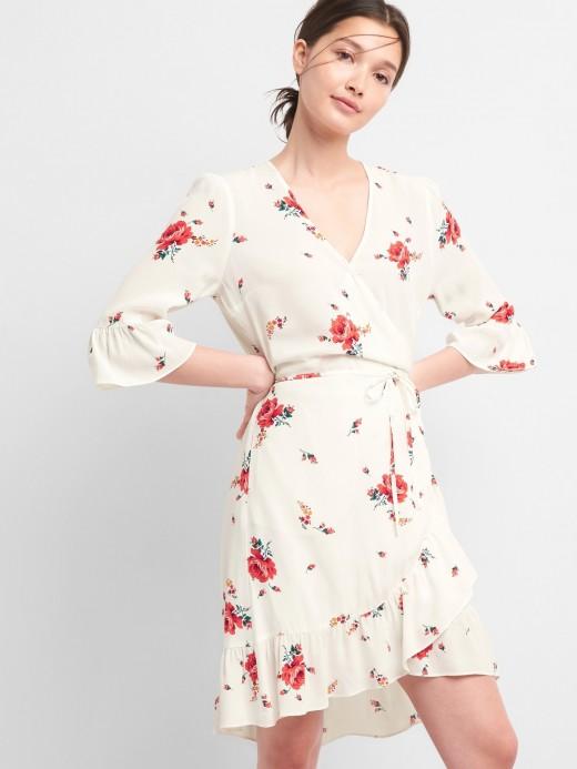 Vestido feminino adulto envelope com estampa floral