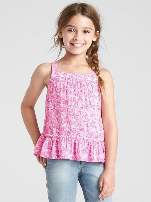 Blusa feminina infantil de alças com estampa florida