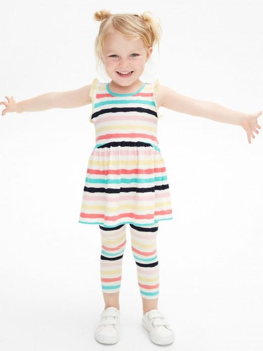 Calça legging feminina infantil listrada