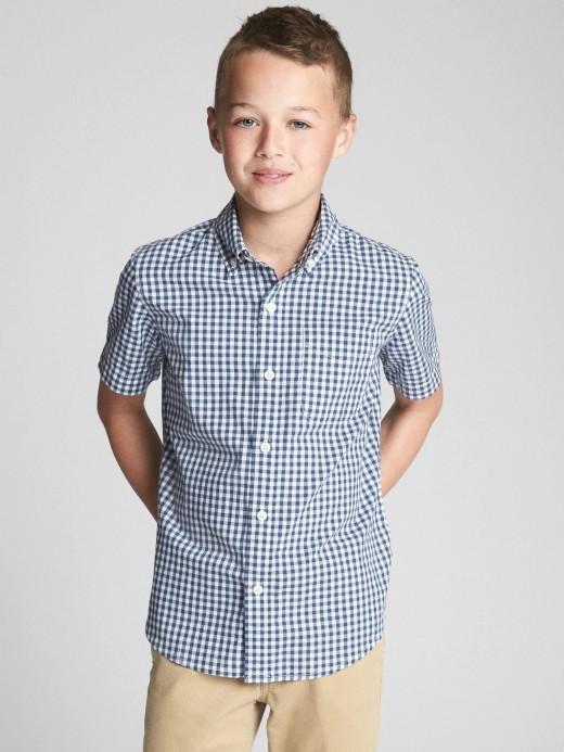Camisa masculina infantil xadrez manga curta com bolso