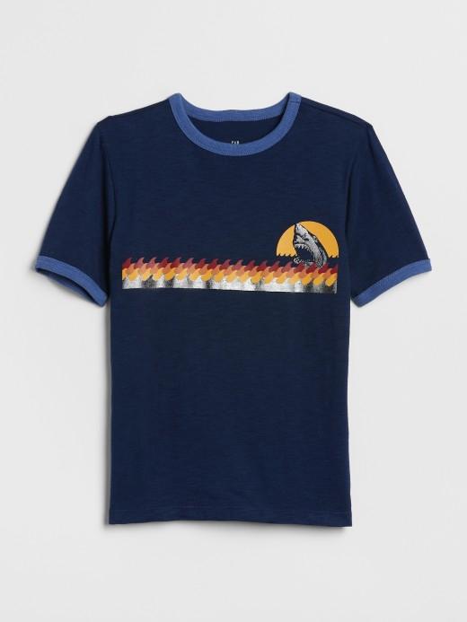 Camiseta masculina infantil com estampa de tubarão