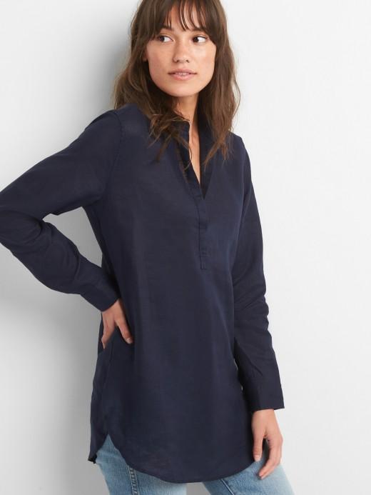 Camisa feminina adulto túnica de linho com bolso