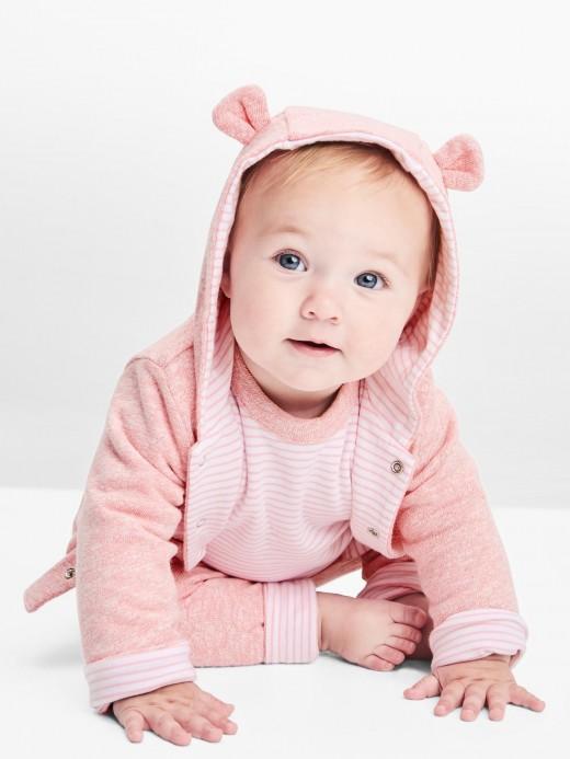 Moletom baby girl frente e verso com capuz