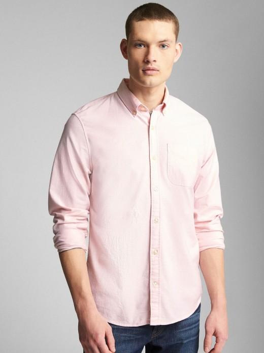 Camisa masculina adulto com pattern em oxford stretch