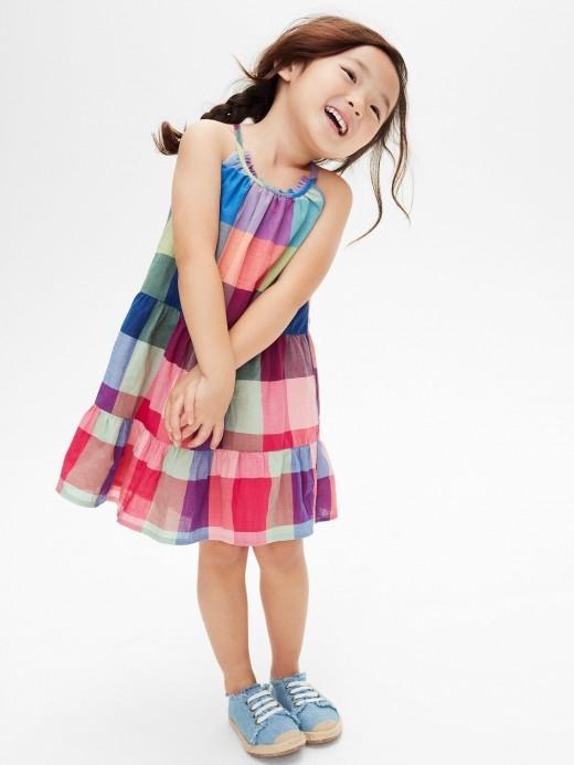 Vestido feminino infantil sem manga xadrez
