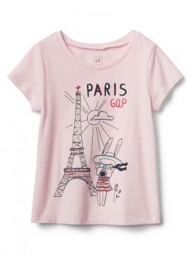 Camiseta feminina infantil com estampa cidades