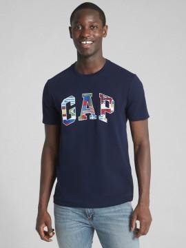 Camiseta masculina adulto com LOGO e bandeiras estampadas