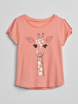 Camiseta feminina infantil com estampa de girafa