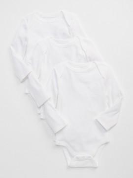 Body recém-nascido branco manga longa 3 peças