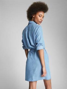 Vestido feminino adulto chemise com botões