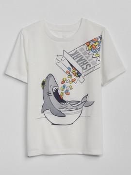 Camiseta masculina infantil com estampa tubarão