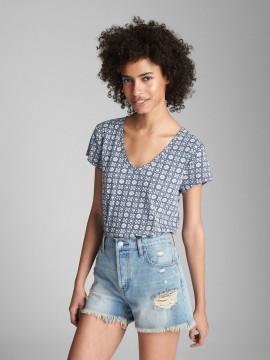 Camiseta feminina adulto estampada gola V