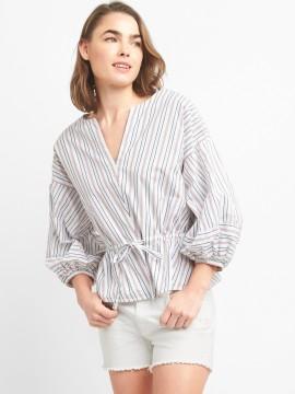 Camisa feminina adulto listrada com amarração na cintura
