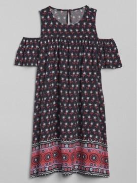 Vestido feminino infantil estampado ombro de fora