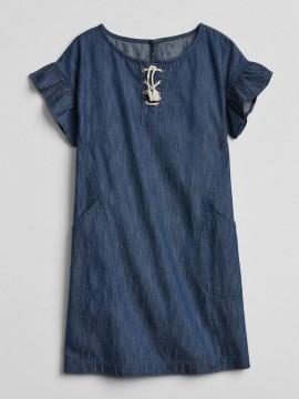 Vestido feminino infantil jeans liso manga curta