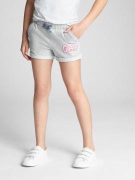 Short feminino infantil de moletom liso com LOGO