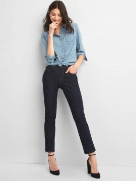 Calça feminina adulto jeans straight rinsed