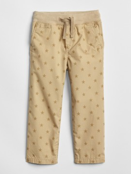 Calça masculina infantil com estampa de estrela khaki