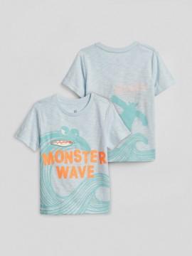 Camiseta masculina infantil com estampa de onda