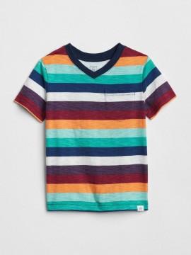 Camiseta masculina infantil listrada com bolso