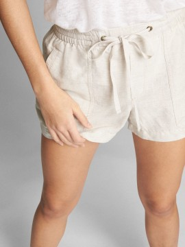 Short feminino adulto de algodão de linho