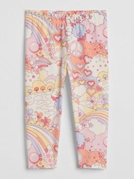 Calça legging feminina infantil com estampa arco-íris