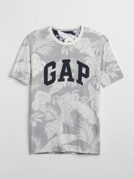 Camiseta masculina adulto com LOGO e estampa de folhas