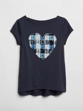 Camiseta feminina infantil com estampa em lantejoula