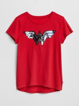 Camiseta feminina infantil lisa com símbolo da mulher maravilha em lantejoula dupla-face