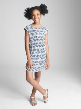 Vestido feminino infantil com estampa de elefante e elástico na cintura