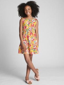 Vestido feminino infantil sem manga florido com elástico na cintura