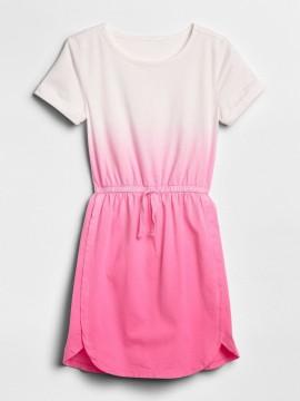 Vestido feminino infantil degrade rosa com elástico na cintura