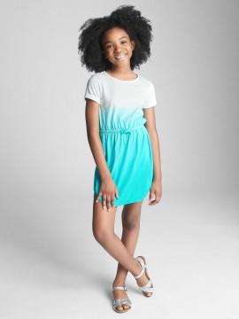 Vestido feminino infantil degrade azul com elástico na cintura
