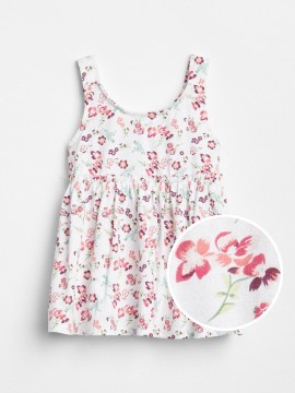Vestido feminino infantil florido com elástico na cintura