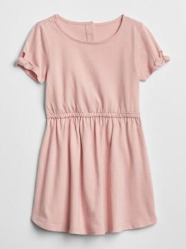 Vestido feminino infantil com elástico na cintura e laço na manga