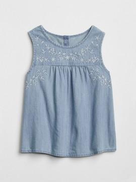 Blusa feminina infantil jeans sem manga com bordado no peito