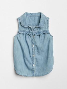 Camisa feminina infantil jeans sem manga com botões