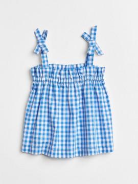Blusa feminina infantil xadrez com laços na alça