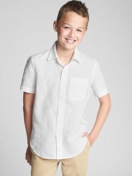 Camisa masculina infantil lisa manga curta com bolso