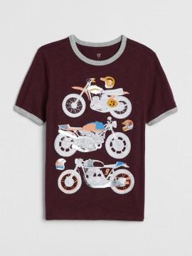 Camiseta masculina infantil com estampa de moto