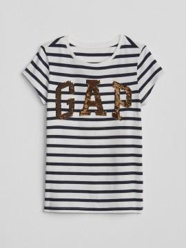 Camiseta feminina infantil com listras e LOGO em lantejoula dupla-face