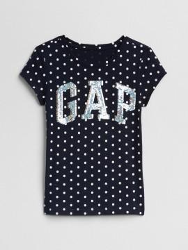 Camiseta feminina infantil com estampa de bolinha e LOGO em lantejoula dupla-face