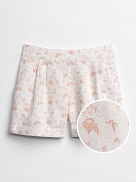 Shorts feminino infantil de linho e estampa de folhas
