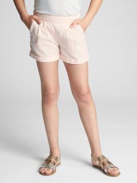 Shorts feminino infantil de linho liso