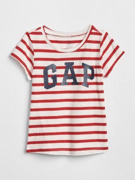 Camiseta feminina infantil com LOGO listrada