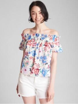 Blusa feminina adulto estampada ombro a ombro
